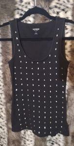 Express Small Black Cotton studded sleeveless top